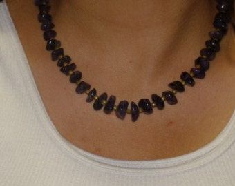 Vintage Necklace of Purple Amethyst Stones and Metal Beads