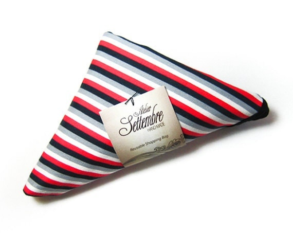 Reusable Shopping Bag handmade with gray black white and red striped cotton tote folded into a triangle and edged in black ribbon
