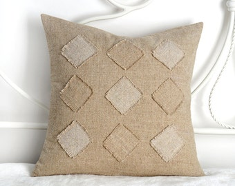 18x18 Linen Pillow Cover, Natural Linen Pillow Cover,  Decorative Pillow Cover, Home Decor Accessories, Button Closure Pillow Cover,