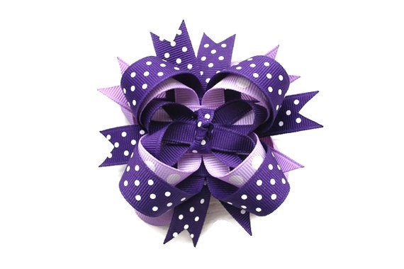 Purple Polka Dot Hairbow 3 inch stacked boutique hair bow in purple and lavender