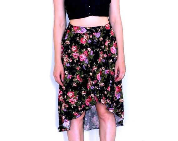 High-Low Floral Skirt w/Elastic Waist