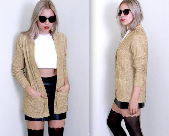 SALE Solid Gold- Oversized Cable Knit Cardigan