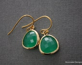 20% Off Valentines Day SALE - Gold framed green agate color stone earrings