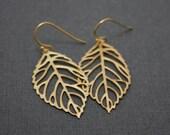 038- Gold Leaf Earrings, Gold Earrings, Fall Fashion, Fall Earrings