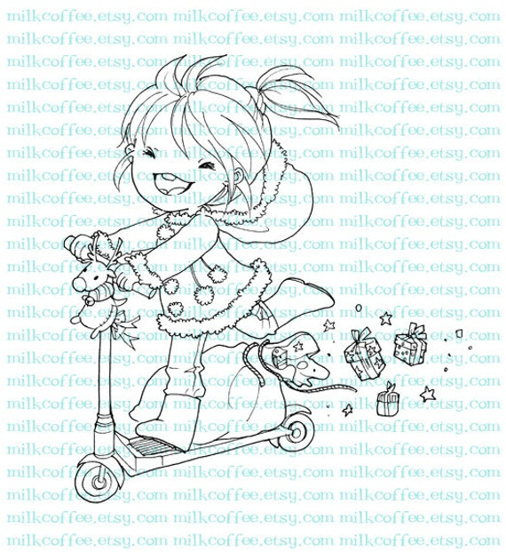 Digital Stamp Alicia and Christmas Mini Scooter