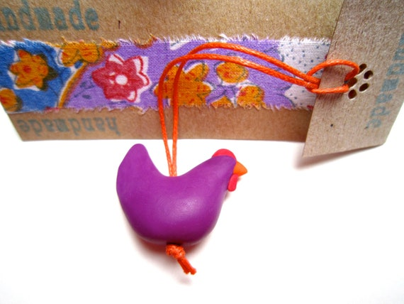 Little Hen purple orange and red charm decoration zipper pull key fob hand made OOAK