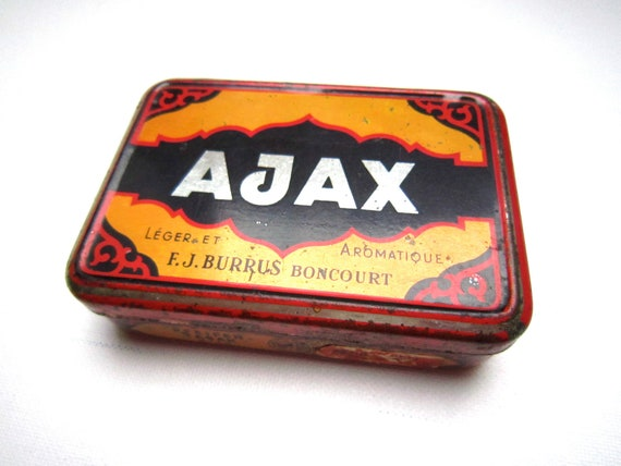 Vintage French pipe tabacco tin box AJAX 1970s red bold graphics