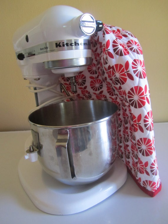 Quilted Kitchen-Aid Mixer Cover - White with Red Apples - Robert Kaufman Fabric - To Market To Market Red Apples