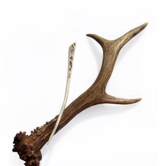 Hair Stick Fork Deer Antler Carving Hairpin Eco friendly Bone Carving Boho Tribal Natural Hair Accessory Handmade by MariyaArts