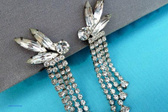 Vintage Bridal Earrings Rhinestone Dangle Earrings 1950s Jewelry