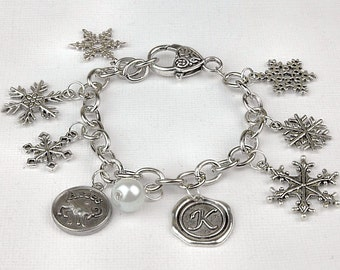Personalized Snowflake Bracelet with Your Initial, Zodiac and Birthstone