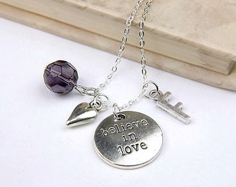 Personalized Believe in Love Necklace with Your Initial and Birthstone