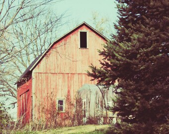 red, blue, barn, landscape, farm, country living, fine art photography