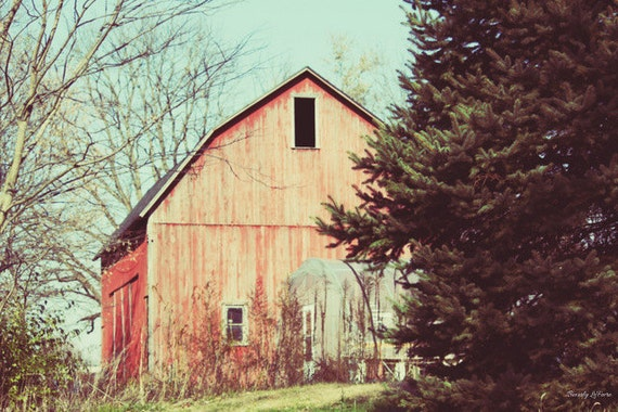 Red Blue Barn Landscape Farm Country Living Fine Art