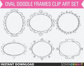 Doodle Frames, clipart frames, digital frames, doodle clipart, frame clipart, hand drawn clipart, clipart doodle