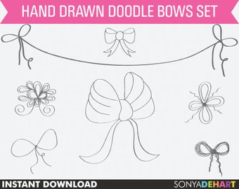 80% OFF Sale Clipart Bows, digital bows, bow clip art, ribbon clipart, bow clipart, clip art ribbons, doodle bow clipart, doodle clipart