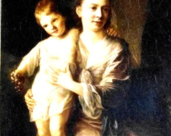 Vintage Mother and Child European Masters Print on Canvas 5in x 7in Unframed