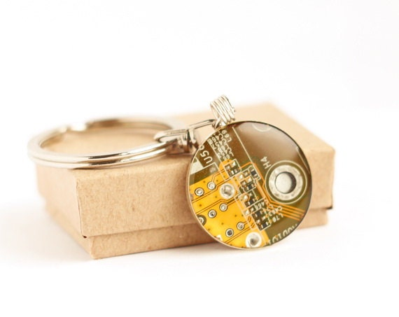 SALE Circuit board geekery keychain yellow - recycled computer y4296 ready to ship