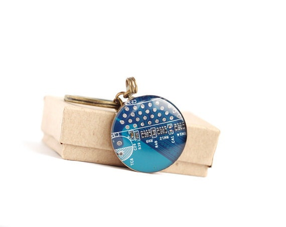 SALE Circuit board geekery key chain Blue - recycled computer ready to ship b4330