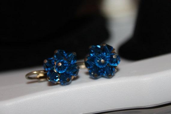 Antique Sea-Blue Swarovski Crystal Earrings, 1920's