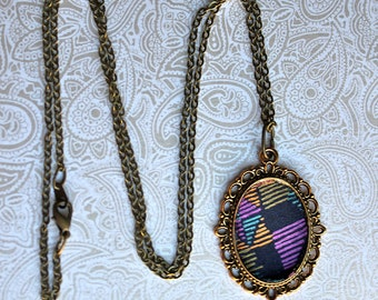 Psychedelic Print Frame Necklace