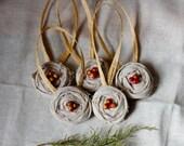 holiday ornaments christmas handmade botanical fabric rose wreath dried berries berry center hostess gift TWENTY