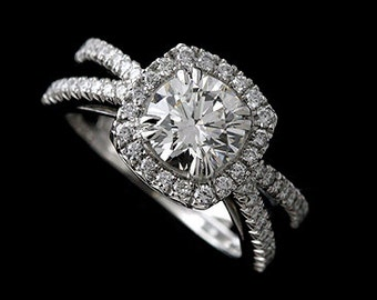 Diamond Halo Engagement Ring, Split Shank Proposal Ring, 1.25CT Round Moissanite Ring, Cut Down Micro Pave Set Ring, Modern Platinum Ring