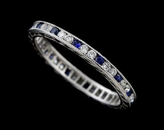 Diamond And Blue Sapphire Engraved Eternity Platinum Wedding Band 2mm Wide