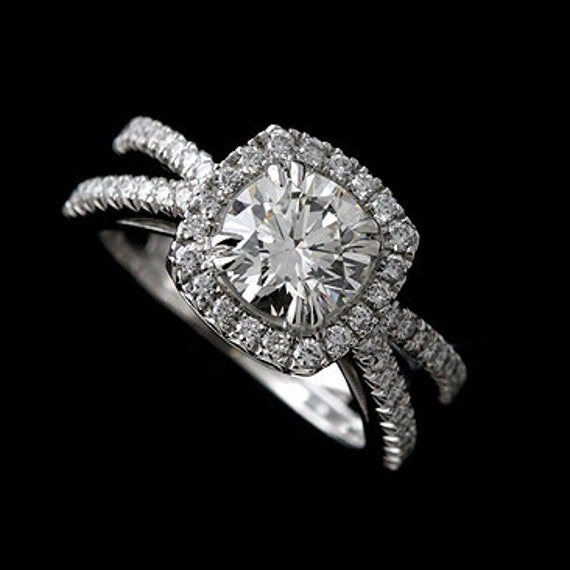 Cushion Halo Ring Setting Diamond Engagement Ring Split