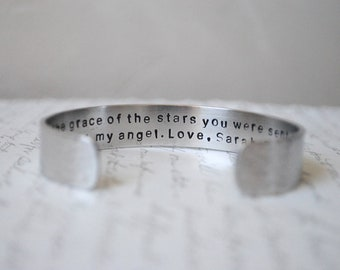 Sister Gift / By the Grace of the Stars You were Sent to Me Secret Message Sister Cuff Bracelet