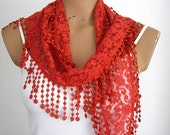 Brick Red Lace Scarf with Tassel Womens Scarf Scarves Summer Cowl