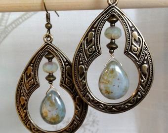 Antique Brass Earrings - Moroccan Flair w/ Green Luster Drop, Opal Green Glass & Antique Brass Accents