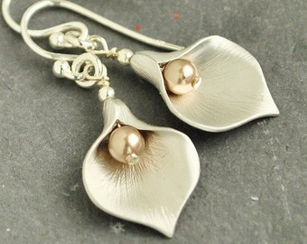 Silver Calla Lily Earrings -Swarovski Pearl Drop Earrings - Bronze Pearl Silver Bridesmaid Earrings - Sterling Silver Ear Wires