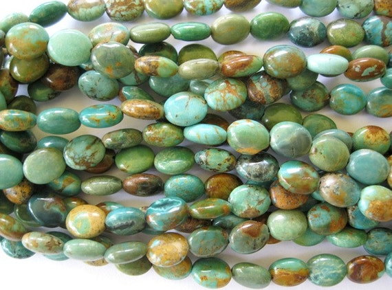 Natural Turquoise Bead Flat Oval 8MM X 10MM Blue Green 15 1/2 inches