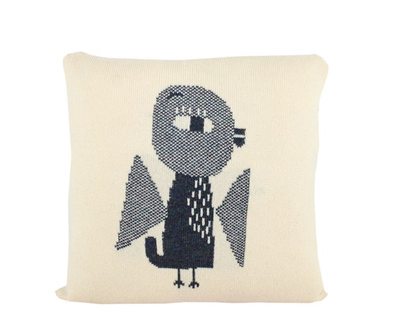 Decorative Pillow -Little Bird - soft knitted pillow - cream, blue, 16x16, includes insert