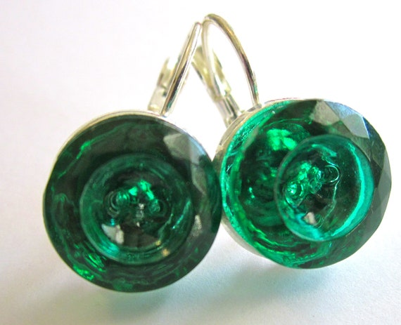 Vintage glass 2-hole button earrings, emerald green glass buttons, silver leverbacks