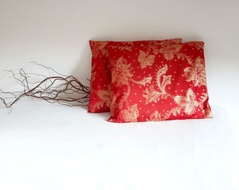 Christmas pillow, cushion case, red & gold cushion, OOAK