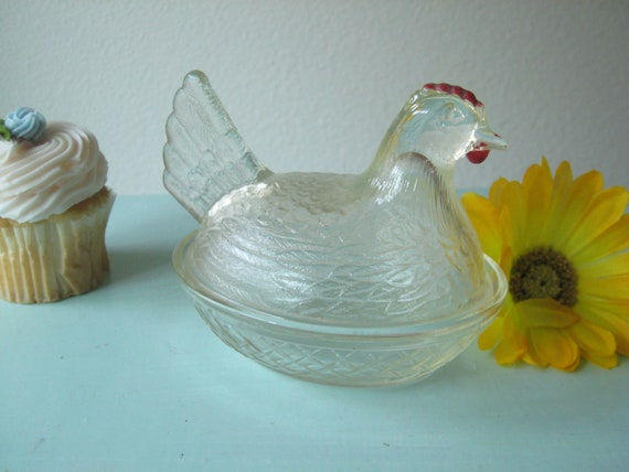 Cute Antique Depression Glass Chicken Chicken Candy Dish