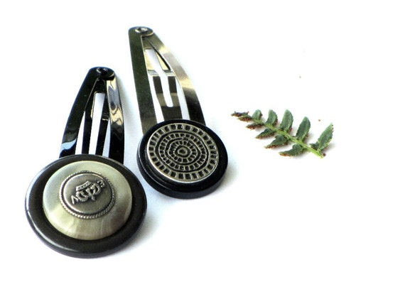 Silver Button Hair Clip Set, Olive, Snap Clips, Accessories, Jewelry for Hair, Back to School
