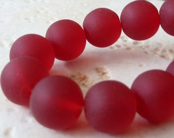 10mm Red Matte Sea Glass Round Beads - 8 Inch Strand - Frosted Beach Glass - BE32