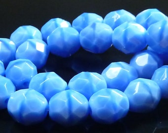 8mm Sky Blue Coral Opaque Czech Glass Beads - 8 Inch Strand (25) - Round, Faceted, Fire Polished - BD20