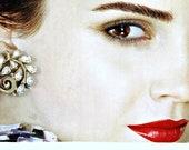 Vintage Trifari jewelry earrings retro 1950s clear rhinestones bridal wedding gold tone swirly setting