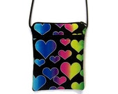 Cross Body Sling Hipster Purse in Rainbow Hearts