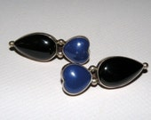 Sterling, Lapis, and Black Onyx Earrings