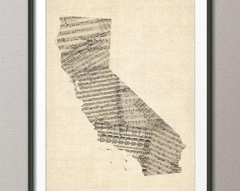 California Old Sheet Music Map USA, Art Print (336)