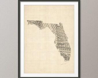 Florida Old Sheet Music Map USA, Art Print (338)