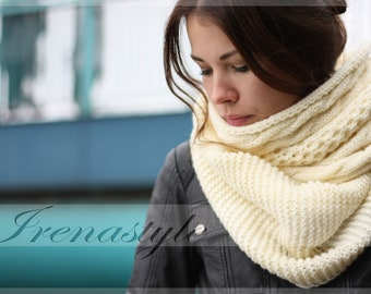 MADE TO ORDER .Scarf From Cable pattern Merino Wool . Knit Fall Scarf, Loop Scarf,Huge Infinity Scarf