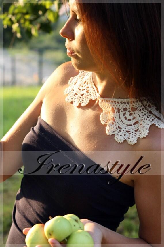 Lace crochet collar, light ecru cotton CROCHET COLLAR