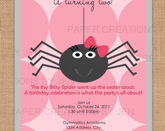Itsy Bitsy Spider Birthday / Halloween Printable Invitation