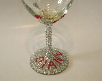 Rhinestone Bling White Wine Glass Personalized Custom